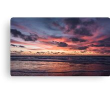 Dutch Seascapes, Evening Red on a winter eve 2 Canvas Print