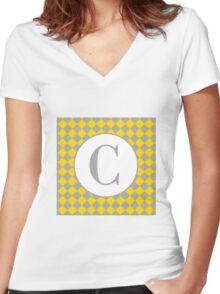 C Checkard Women's Fitted V-Neck T-Shirt
