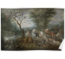 Jan Brueghel the Elder - Paradise Landscape with the Animals Entering Noah s Ark 1613–1615 Poster