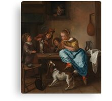 Jan Havicksz. Steen - Children Teaching a Cat to Dance, known as The Dancing Lesson 1660 - 1679 Canvas Print