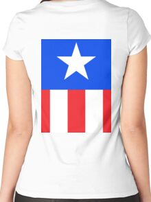 AMERICAN, America, US, USA, Captain America, Star and stripes Women's Fitted Scoop T-Shirt
