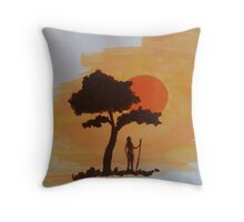 sunset, sundown, illustration, orange, sun, tree, tribe, Africa Throw Pillow
