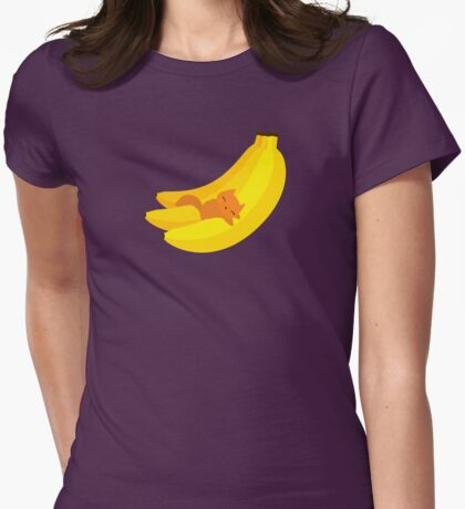 Banana Cat Womens Fitted T-Shirt
