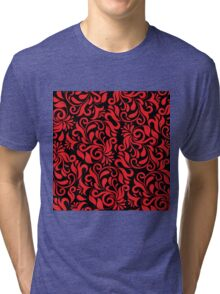 Red And Black Damask Tri-blend T-Shirt