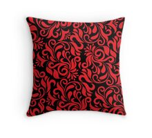 Red And Black Damask Throw Pillow
