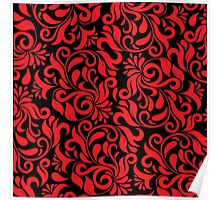 Red And Black Damask Poster
