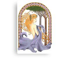 Art Nouveau Woman in Lavender Cutout Added Detail Canvas Print