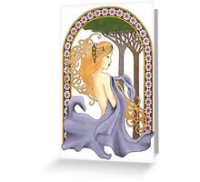Art Nouveau Woman in Lavender Cutout Added Detail Greeting Card