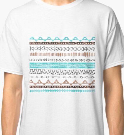 Brown Teal Blue Black hand drawn watercolor geometric tribal pattern Classic T-Shirt