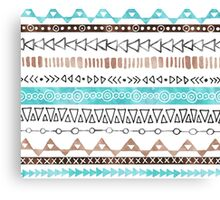 Brown Teal Blue Black hand drawn watercolor geometric tribal pattern Canvas Print