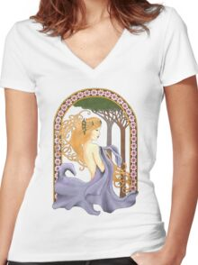 Art Nouveau Woman in Lavender Cutout Added Detail Women's Fitted V-Neck T-Shirt