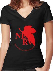Neon Genesis Evangelion - NERV Logo Women's Fitted V-Neck T-Shirt