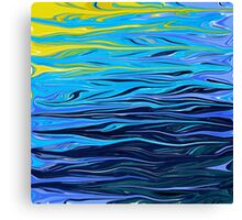Deep Blue Abstract Reflective Water Canvas Print