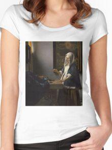 Johannes Vermeer - Woman Holding a Balance 1664 -  1664 Women's Fitted Scoop T-Shirt