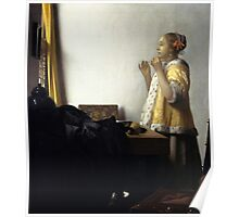 Johannes Vermeer - Young Woman with a Pearl Necklace around 1662 Poster