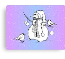 Snowman with Birds, Snowfall, Original Drawing Canvas Print