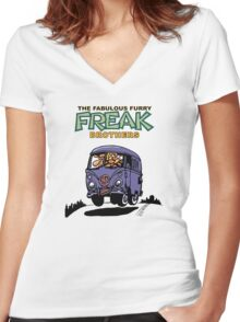 Fabulous Furry Freak Brothers Bus! Women's Fitted V-Neck T-Shirt