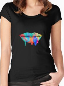 Acrylic Lips Women's Fitted Scoop T-Shirt