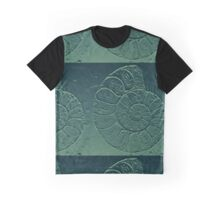 Geology Theme Ammonite in Blue-green and Grey Graphic T-Shirt