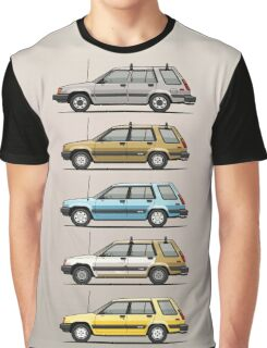 Stack Of Mark's Toyota Tercel Al25 Wagons Graphic T-Shirt