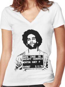 HUEY P. NEWTON-MUGSHOT Women's Fitted V-Neck T-Shirt