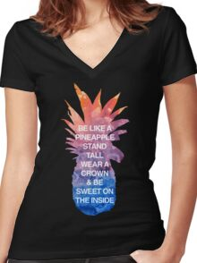 Be Like a Pineapple Women's Fitted V-Neck T-Shirt