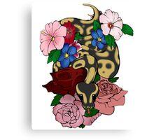 Floral Ball Python Canvas Print