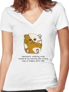 Hamster's messing up science Women's Fitted V-Neck T-Shirt