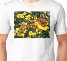 Orange Butterflies on Yellow Coreopsis T-Shirt