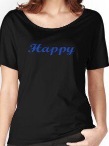 Black Happy T-Shirt - Get Positive Enjoy Life Women's Relaxed Fit T-Shirt