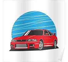 Nissan Skyline (R33) GT-R (red) Poster