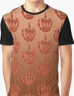 Orange Skeleton Finger Graphic T-Shirt