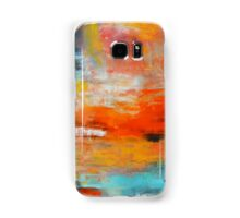 Red abstract sunset landscape painting Samsung Galaxy Case/Skin