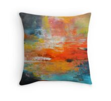 Red abstract sunset landscape painting Throw Pillow