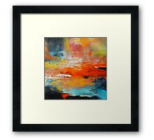 Red abstract sunset landscape painting Framed Print
