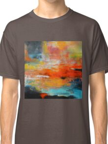 Red abstract sunset landscape painting Classic T-Shirt