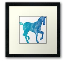 Blue Watercolor Horse Framed Print