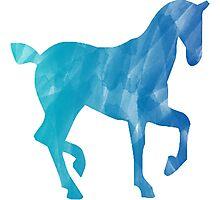 Blue Watercolor Horse Photographic Print
