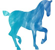 Blue Watercolor Horse Photographic Print