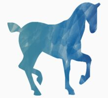 Blue Watercolor Horse Kids Tee