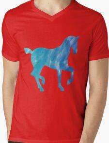 Blue Watercolor Horse Mens V-Neck T-Shirt