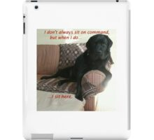 Black Dog Sits On Command on Couch iPad Case/Skin