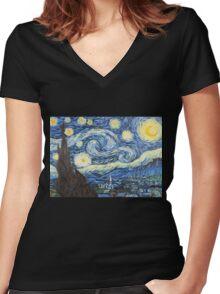 Van Gogh - Starry Night Women's Fitted V-Neck T-Shirt
