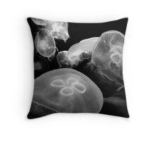 Moon Jellies (monochrome) Throw Pillow