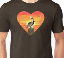 LOVE: Brown Pelican Unisex T-Shirt