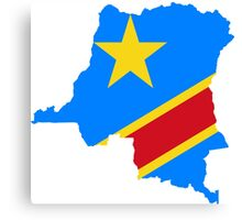 Flag Map of the Democratic Republic of the Congo  Canvas Print