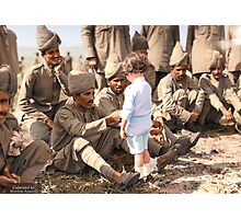A French boy introduces himself to Indian soldiers who had just arrived in France to fight alongside French and British forces, Marseilles, 30th September 1914 Photographic Print