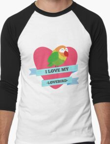 I Love My Lovebird (Green) Men's Baseball ¾ T-Shirt