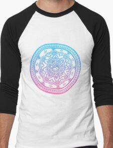 Pink and Blue Ombre Design Men's Baseball ¾ T-Shirt