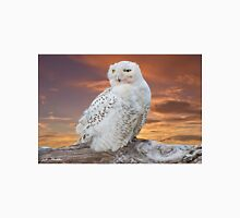 Snowy Owl Perched at Sunset Unisex T-Shirt